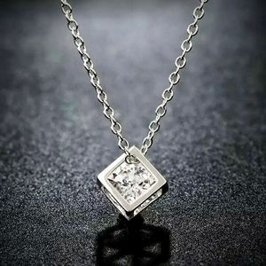 Diamond Hollow Box Sterling Silver Chain Necklace